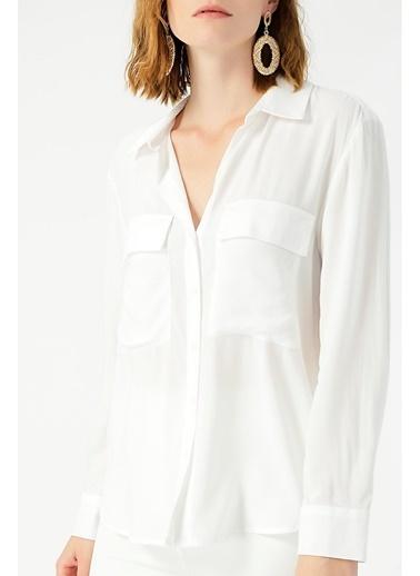 Random Kadın Uzun Kollu Klasik Gömlek Beyaz